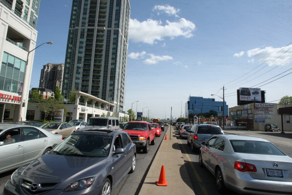 Traffic congestion on Yonge St south of Sheppard in Toronto.