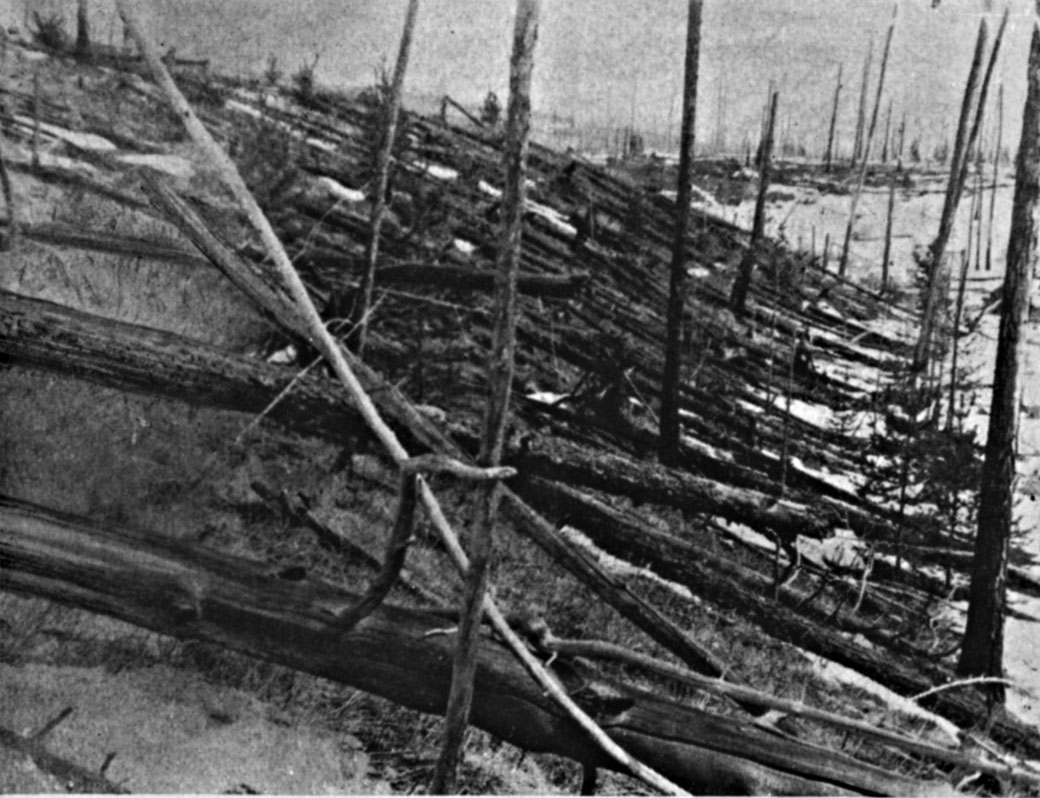 Trees are seen flattened following the 1908 explosion of a meteor over Tunguska, Russia.