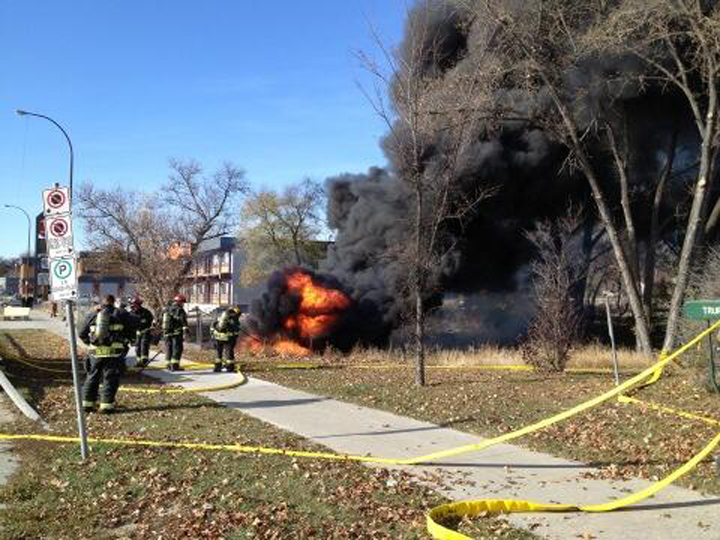 A culvert fire burns in a photo tweeted by firefighters union head Alex Forrest on Tuesday.