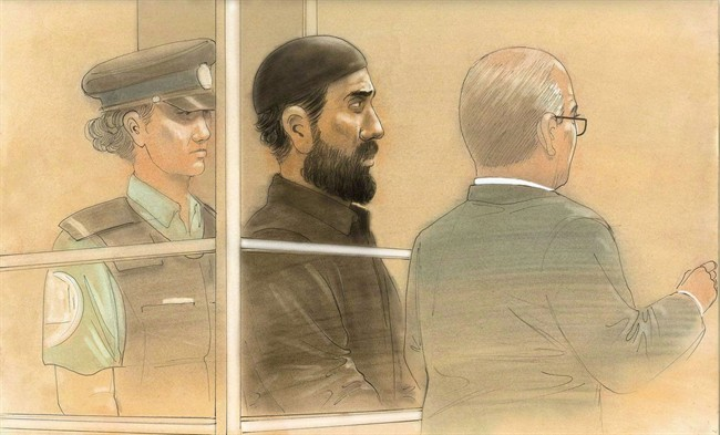 Raed Jaser appears in court in Toronto on Tuesday, April 23, 2013 in this artist's sketch.