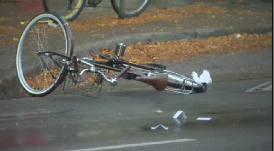 A female cyclist was taken to hospital after being hit by a truck near Spadina and Dundas Street on Oct. 16, 2013.