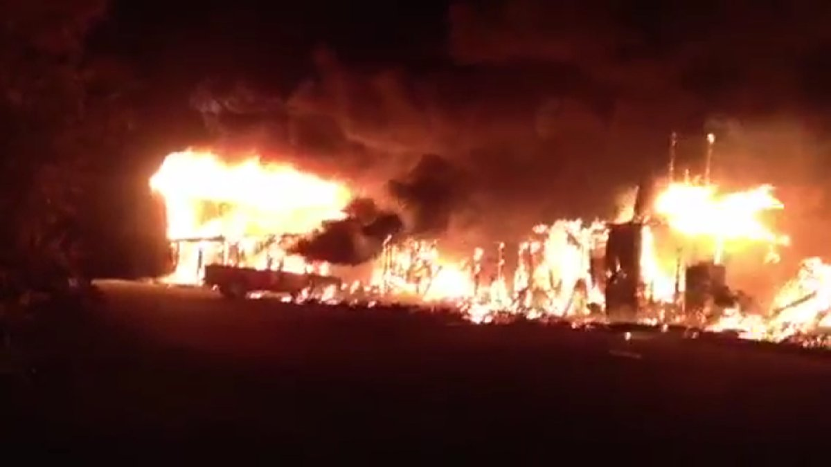 A fire has ravaged a condo complex in Elbow, Sask.