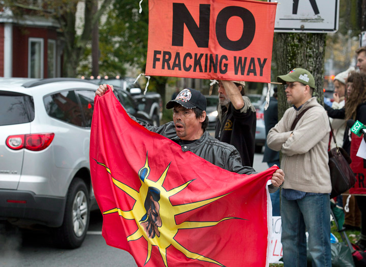 In this file photo, demonstrators rally against shale gas exploration in Halifax on Oct.18, 2013.