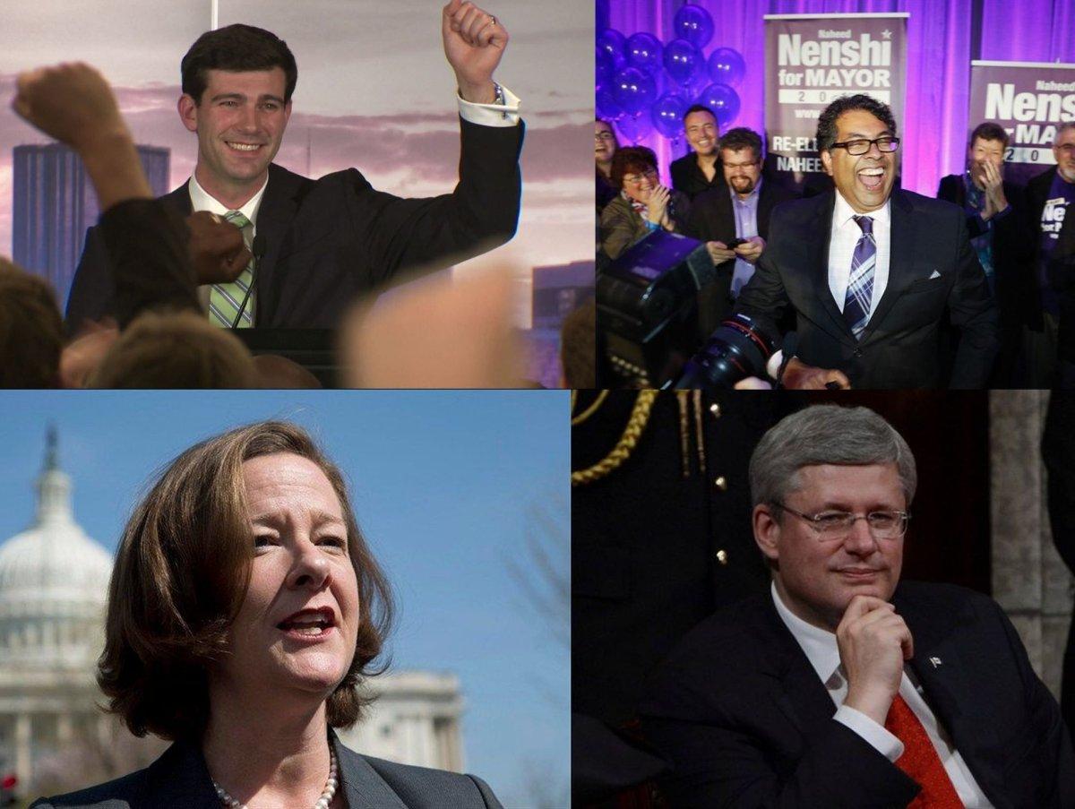 """Progressives"" vs. Conservatics (From top clockwise): Don Iveson, Naheen Nenshi, Alison Redford, Stephen Harper."
