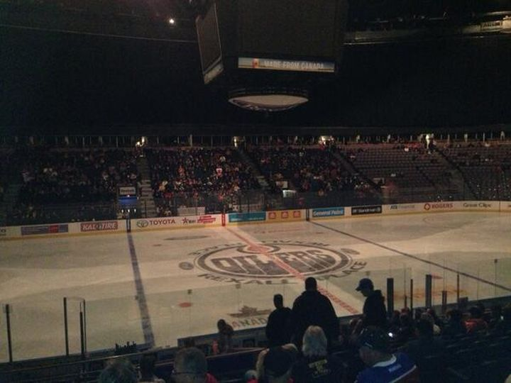 Rexall Place in the dark after power outage Tuesday, October 15, 2013.