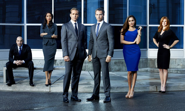 The cast of 'Suits' includes Toronto's Patrick J. Adams (third from right).