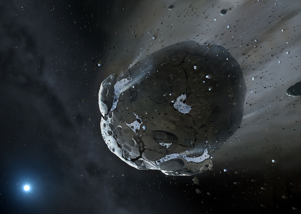 An artist/s impression of a rocky and water-rich asteroid being torn apart by the strong gravity of the white dwarf star GD 61.