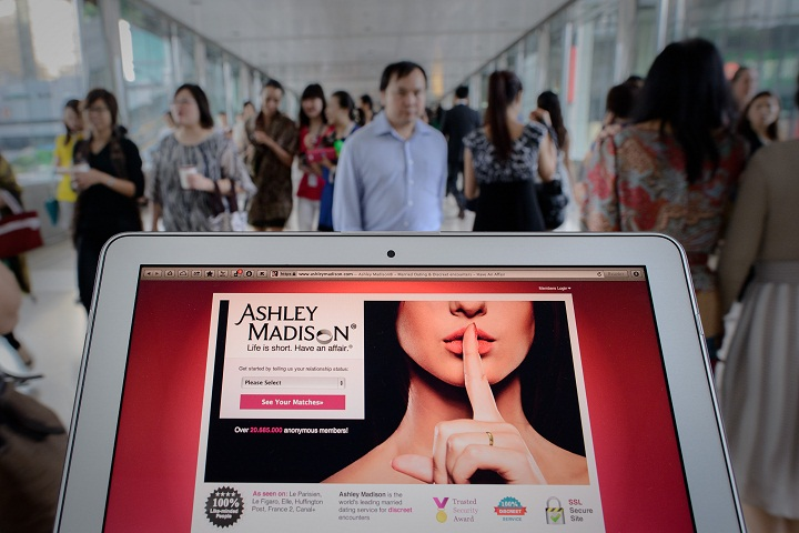 The homepage of the Ashley Madison dating website displayed on a laptop in Hong Kong.