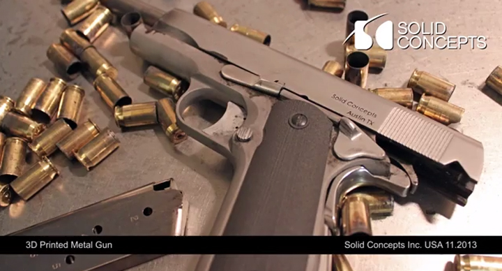 """The gun, revealed by the Texas-based company Friday, is described as a """"classic 1911"""" pistol made up of over 30 3D printed components made of Stainless Steel and Inconel materials."""