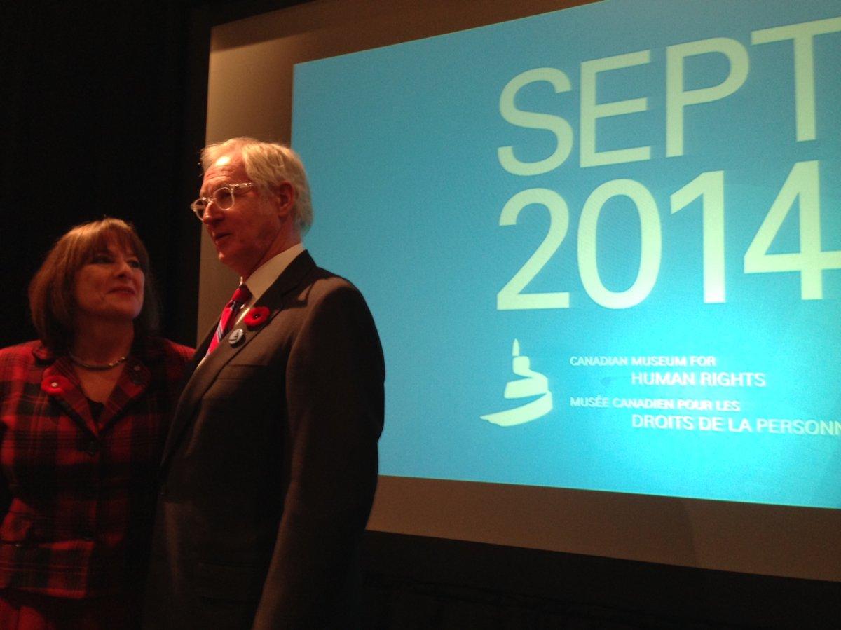 Gail Asper and Stuart Murraypose for media at the CMHR announcement