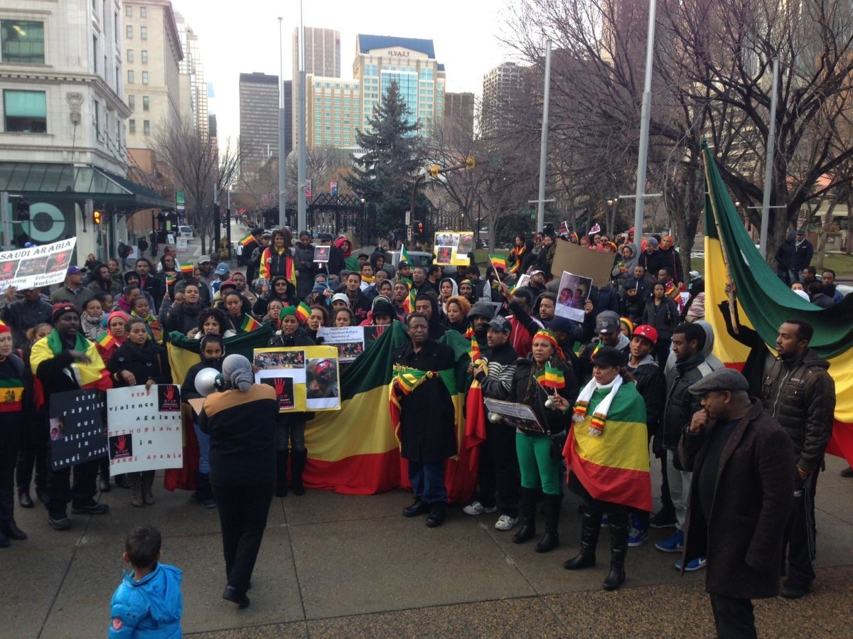 Protesters are angry about the treatment of Ethiopians in Saudi Arabia. Paul MacEachern/Global News.
