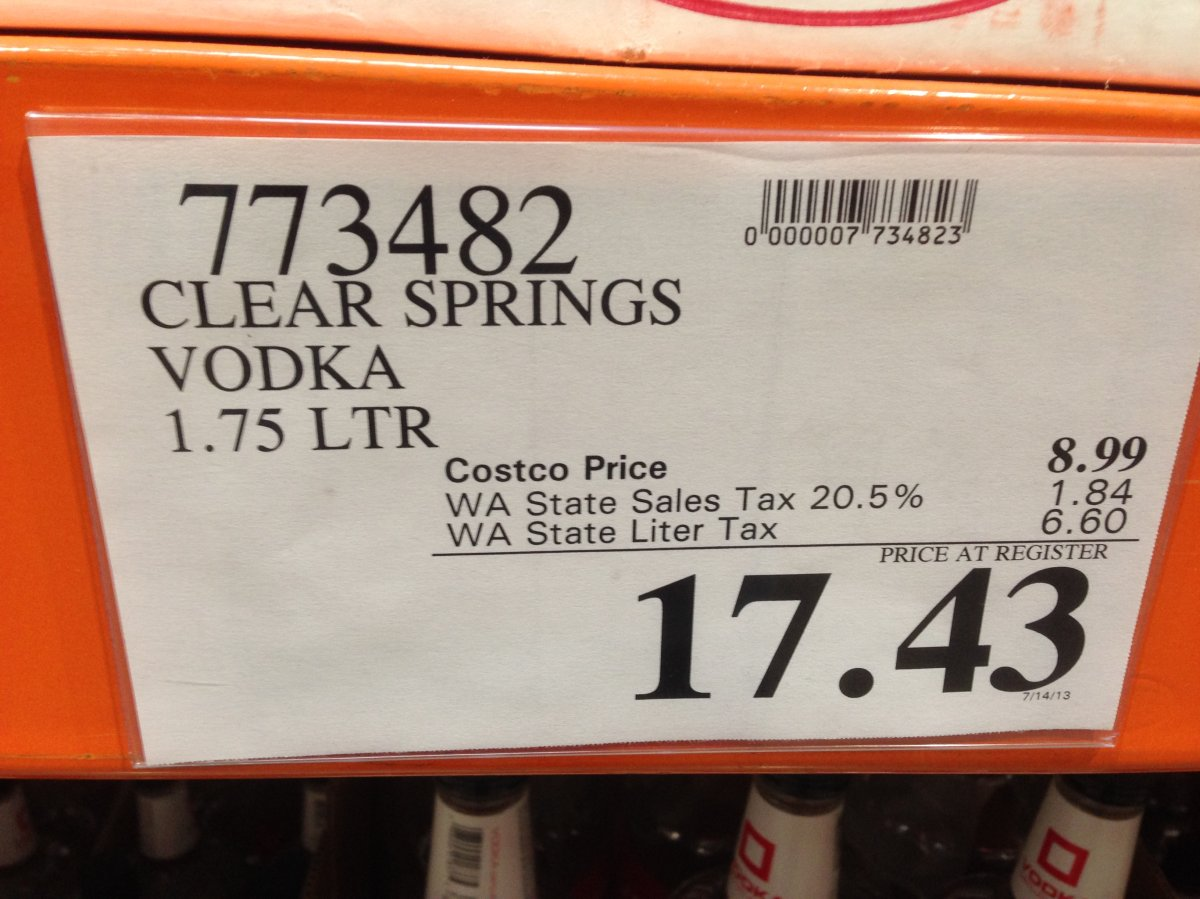 Clear Springs Vodka pictured on sale at the Bellingham Costco in October 2013.