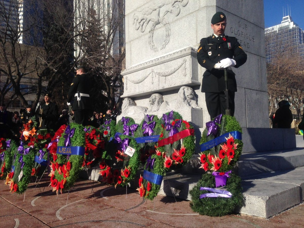 Remembrance Day Ceremony at cenotaph outside Edmonton's City Hall.