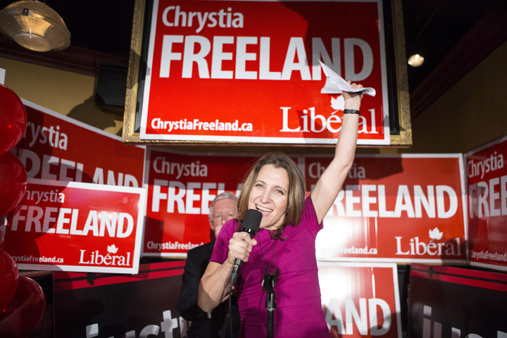 Liberal Candidate Chrystia Freeland (right) stands with Bob Rae as she celebrates after winning the Toronto Centre Federal byelection in Toronto on Monday November 25, 2013 .THE CANADIAN PRESS/Chris Young.