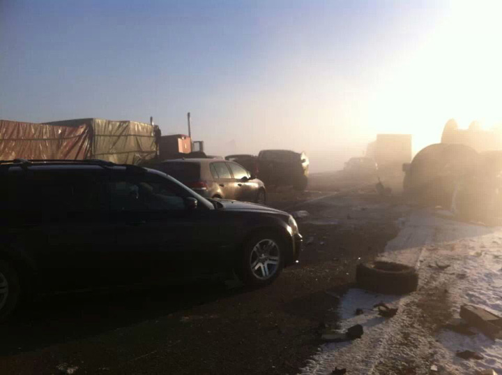 Foggy conditions may be cause of multi-vehicle crash on Highway 16 near Maymont, Sask. that blocked lanes Saturday.