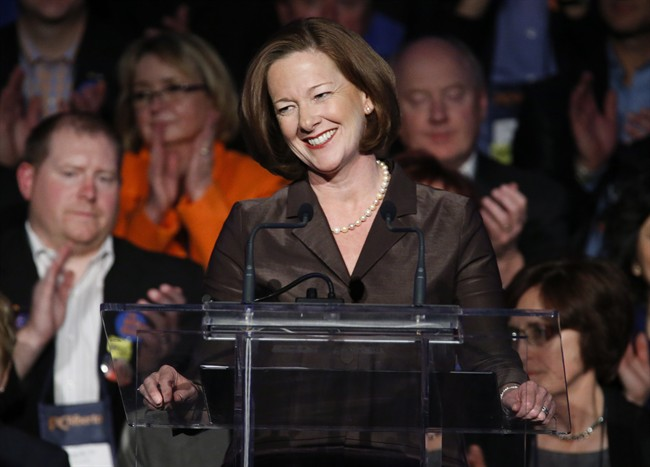 Alberta Premier Alison Redford at the provincial PC party convention in Red Deer, Alta., Friday, Nov. 22, 2013.THE CANADIAN PRESS/Jeff McIntosh.