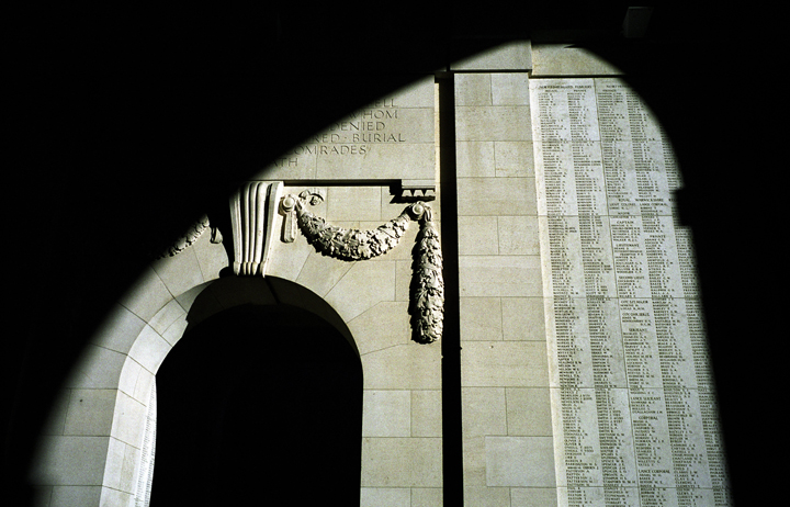 The names of more than 57,000 soldiers who died and have no known grave are engraved on the Menin Gate at Ypres, Belgium.