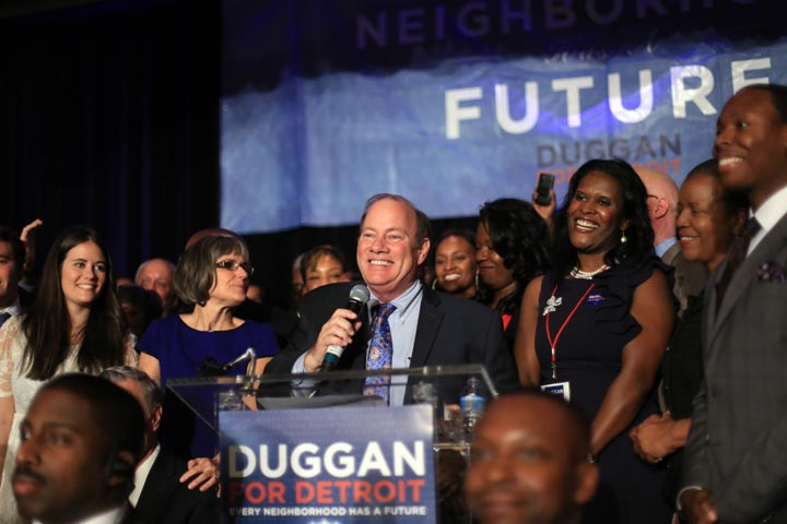 Detroit Mayor-elect Mike Duggan speaks to a crowd of supporters after being named the new mayor of the city of Detroit over Benny Napolean on Tuesday Nov. 5, 2013 at the Marriott Hotel in the Renaissance Center in downtown Detroit.
