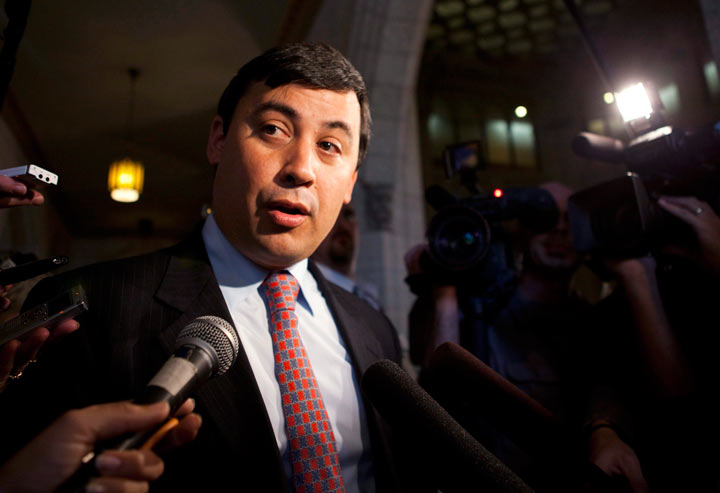 Conservative MP Michael Chong speaks to reporters in the foyer of the House of Commons following question period on Parliament Hill in Ottawa.