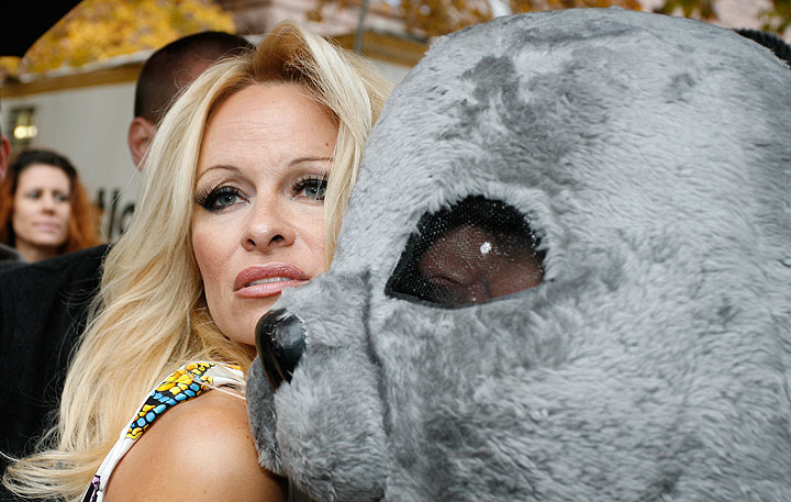 Pamela Anderson, pictured at an anti-seal hunt demonstration in Toronto in 2009.
