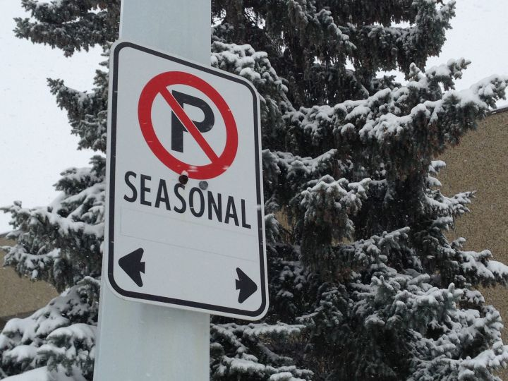 Seasonal parking ban declared in Edmonton.