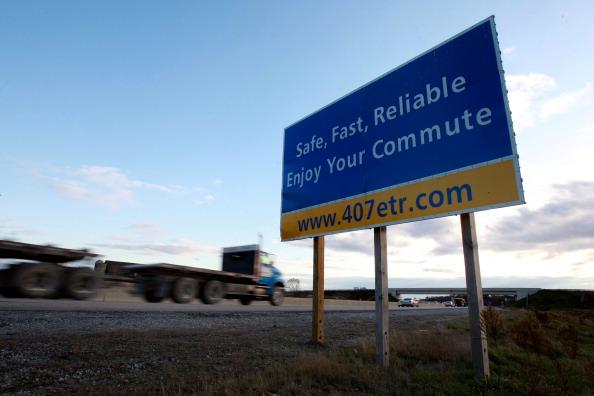 West bound sign near Oakville on toll highway 407 ETR on Nov. 3, 2009.