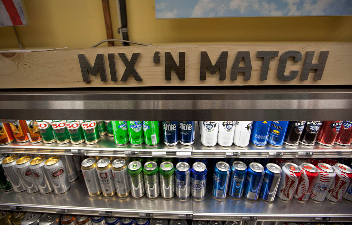 A selection of beers on sale at a mix'n'match cooler at a Beer Store location in Ontario. Most of the brands in view are owned by The Beer Store's brewer owners.