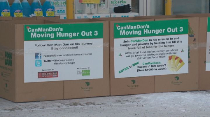 Can Man Dan camped out at Southbrook Sobeys to put an end to hunger.