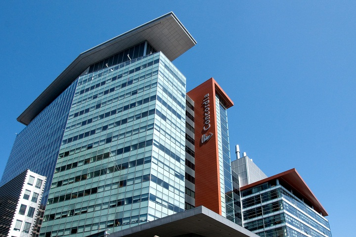 Part of the Concordia University complex building in downtown Montreal.