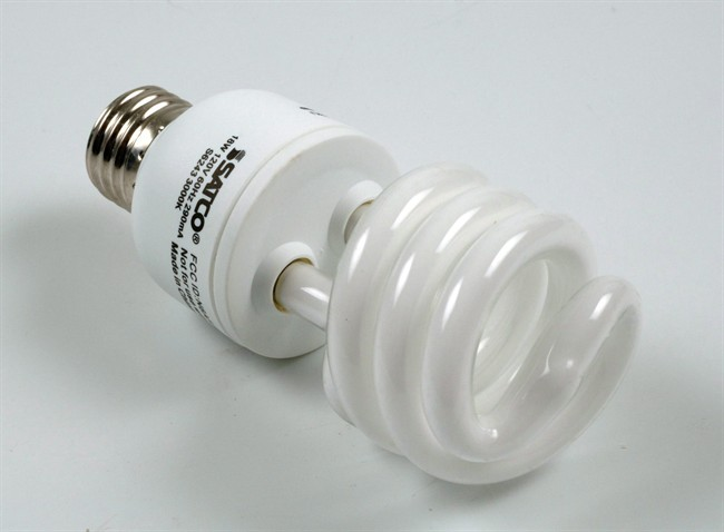 A compact fluorescent lightbulb is shown in a file photo.