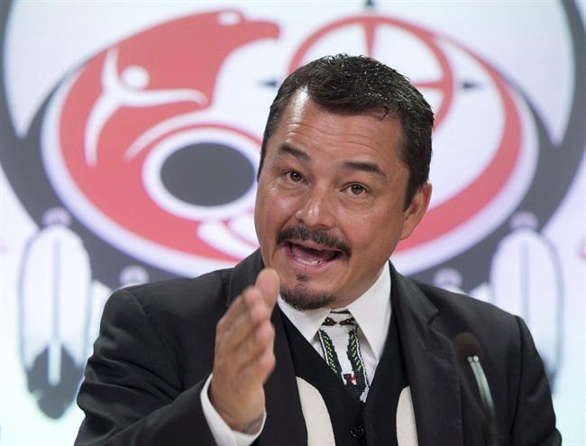 Assembly of First Nations National Chief Shawn Atleo speaks during a news conference Monday October 7, 2013 in Ottawa.