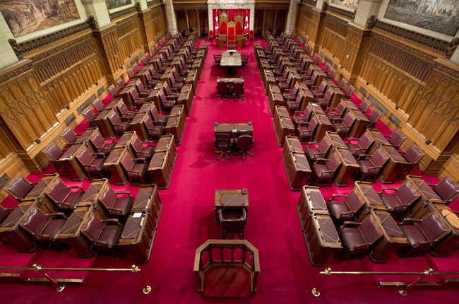 The Senate chamber on Parliament Hill is seen May 28, 2013 in Ottawa.