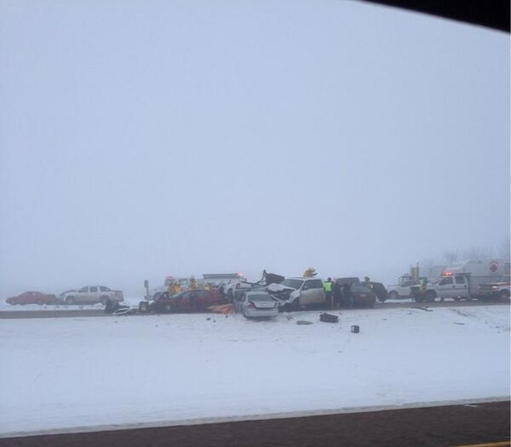 RCMP were called to a 21 vehicle pileup on Highway 16 east of Edmonton Sunday, December 1, 2013.
