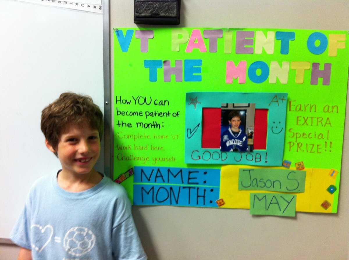 Jason won 'Patient of the Month' for his work in vision therapy. Submitted by the Shipely family.