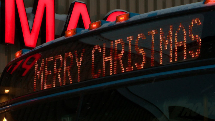 """Local churches push back against atheist who filed a human rights complaint asking for """"Merry Christmas"""" messages to be removed from city buses."""