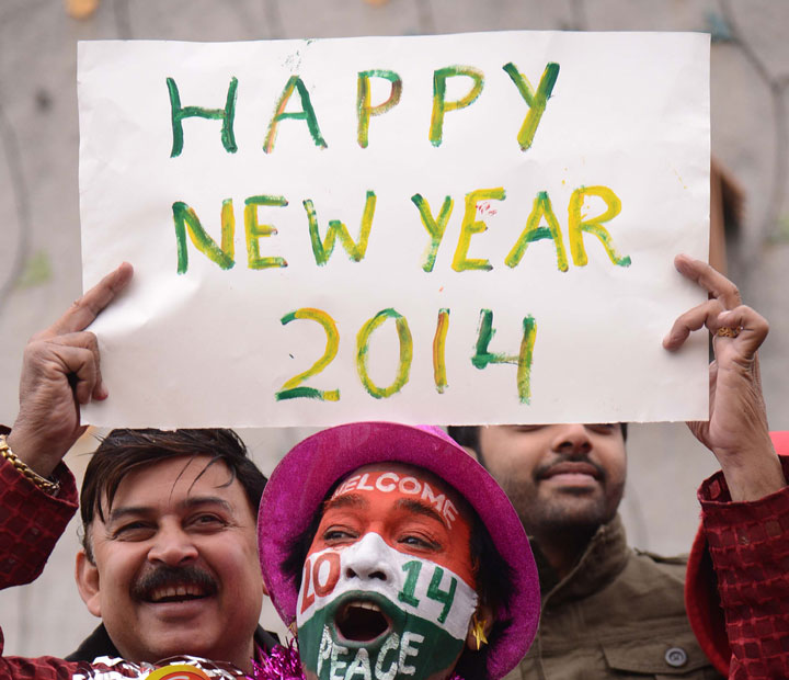 A New Year's Eve reveler in India.