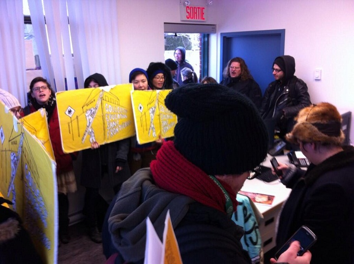 On International Human Rights Day, protesters fighting for the rights of children have taken over the offices of Quebec's Education Minister, Marie Malavoy.