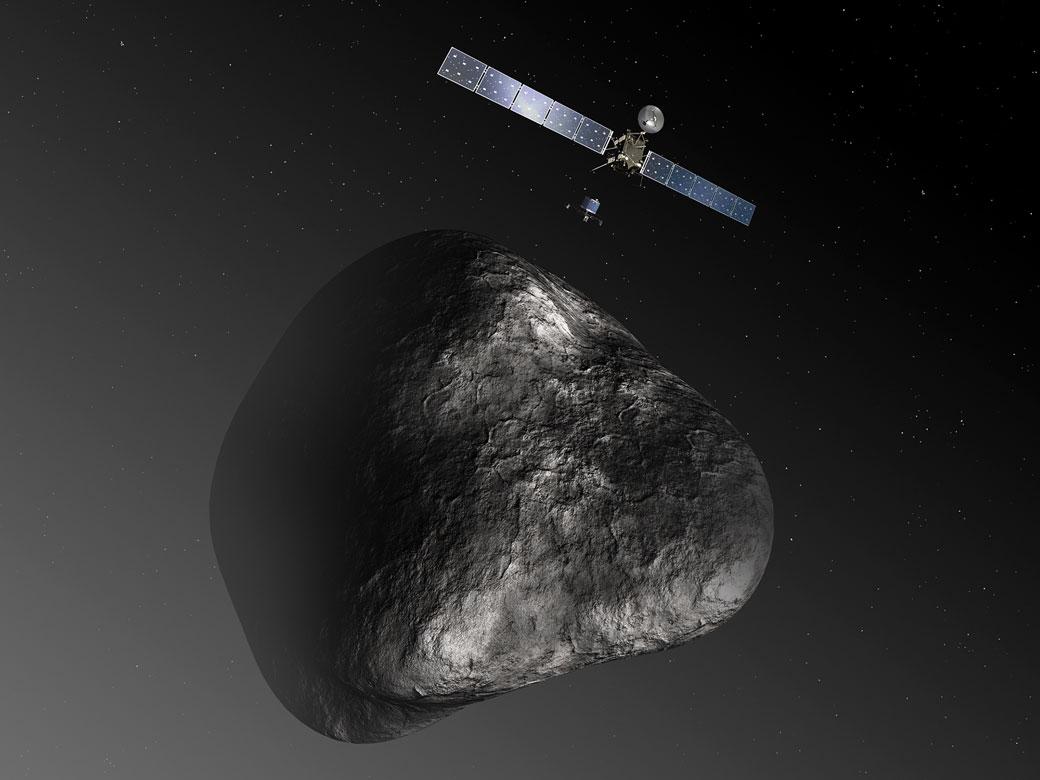 Artist's impression of the Rosetta orbiter deploying the Philae lander to comet 67P/Churyumov–Gerasimenko.