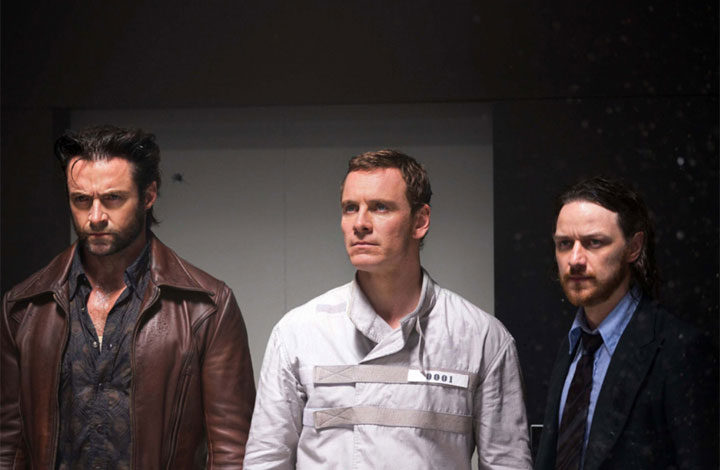 Hugh Jackman, Michael Fassbender and James McAvoy in a scene from 'X-Men: Days of Future Past.'.