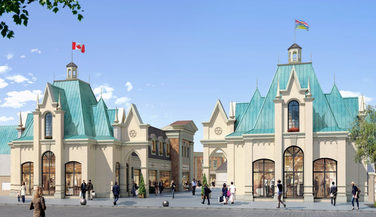 Rendering of the proposed entrance to the outlet mall, inspired by iconic B.C. architecture.