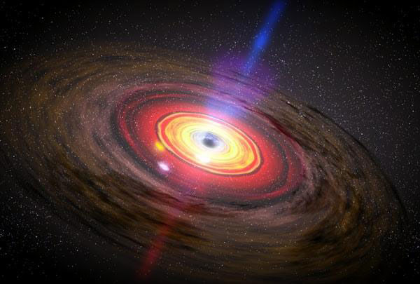 An artist's concept of matter swirling around a black hole.