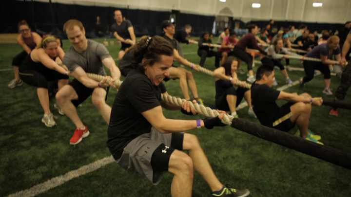 Exercises work up a sweat during a military-style fitness class.