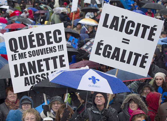 Supporters of Quebec's proposed charter of values gather in Montreal, October 26, 2013.