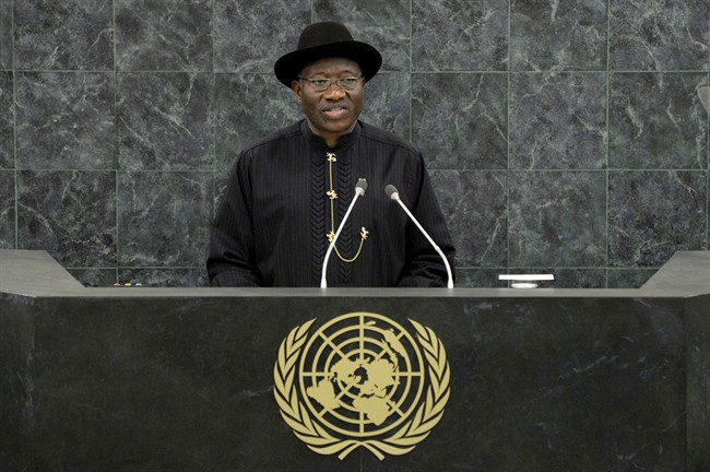 """Nigerian President Goodluck Jonathan speaks at the United Nations Sept. 24, 2013 at U.N. headquarters. Parents and schoolmates of the 219 schoolgirls held captive by Boko Haram extremists refused at the last minute Tuesday to meet with Jonathan, who accused activists of """"playing politics.""""."""