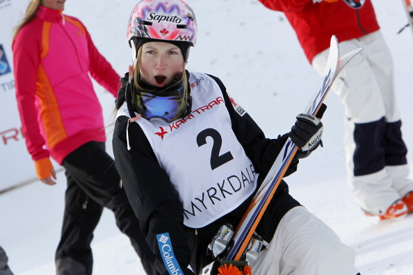 Justine Dufour-Lapointe of Canada takes 3rd place during the FIS Freestyle Ski World Championship Men's and Women's Moguls on March 6, 2013 in Voss, Norway.
