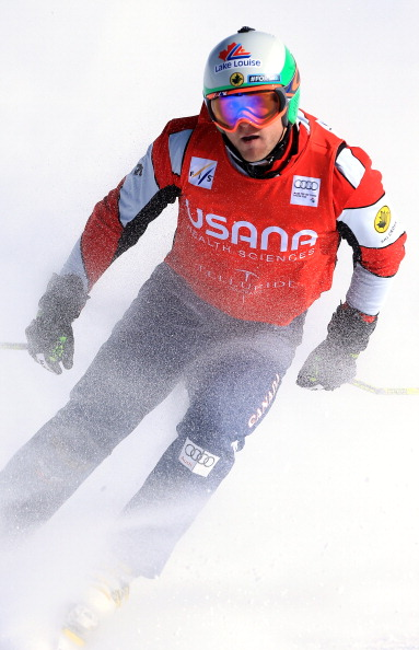 Brady Leman of Canada skis into second place in the men's Audi FIS Ski Cross World Cup on December 12, 2012 in Telluride, Colorado.