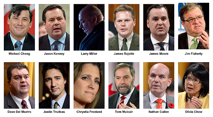 From top left, Michael Chong, Jason Kenney, Larry Miller, James Rajotte, James Moore, Jim Flaherty, Dean Del Masto, Justin Trudeau, Chrystia Freeland, Tom Mulcair, Nathan Cullen, Olivia Chow.