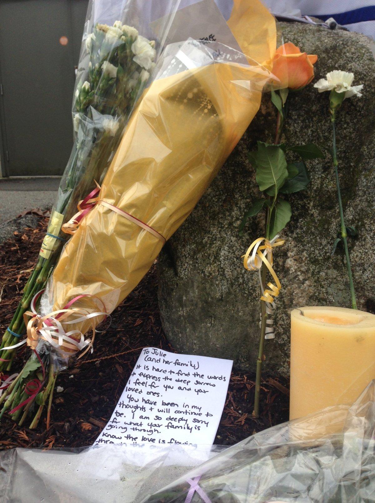A memorial to Julie Paskall outside the Newton Rec Centre. Jill Bennett / Global News