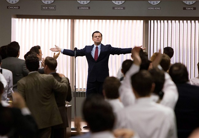 """This film image released by Paramount Pictures shows Leonardo DiCaprio as Jordan Belfort in a scene from """"The Wolf of Wall Street."""" The film was nominated for an Academy Award for best picture on Thursday, Jan. 16, 2014."""