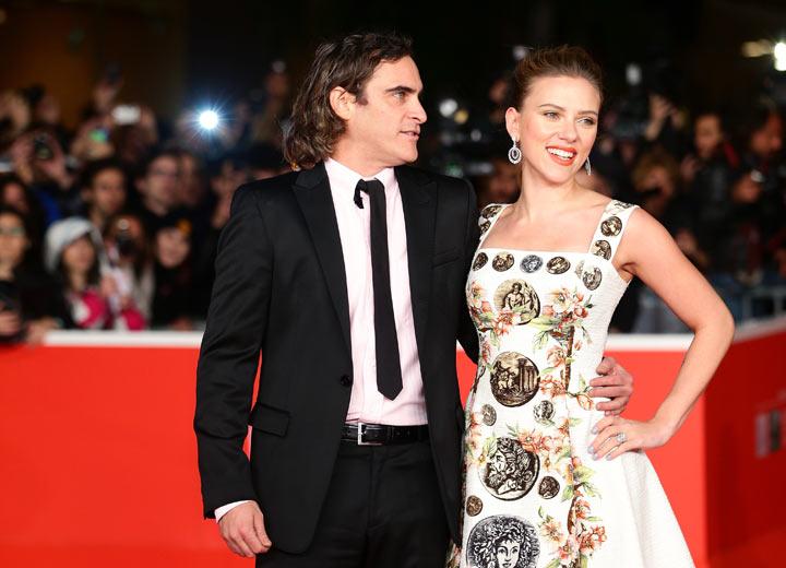 Actors Joaquin Phoenix and Scarlett Johansson attend 'Her' Premiere during The 8th Rome Film Festival at Auditorium Parco Della Musica on November 10, 2013 in Rome, Italy.